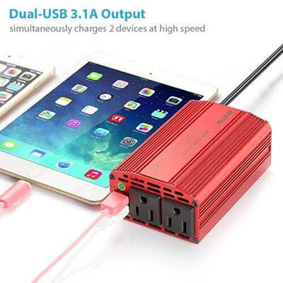 BESTEK 300W Power Inverter with 3.1A Dual USB Car Adapter
