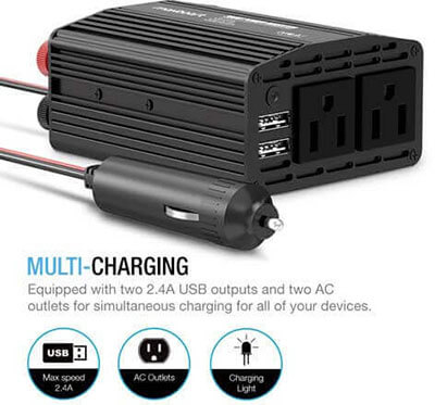 Maxboost 300W Power Inverter Dual 110V AC Outlet