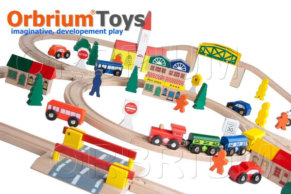 100-Piece Orbrium Triple-Loop Wooden Train Set