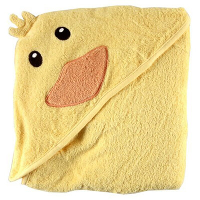 Luvable Friends Animal's Face Hooded Terry Baby Towels, Duck