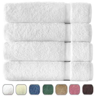 Turkish Luxury Hotel and Spa 27x54 Towel Set from Turkey 700gsm Eco-Friendly, White