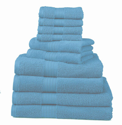 Divatex Home Fashion 10-Piece Deluxe Towels Set, Turquoise blue