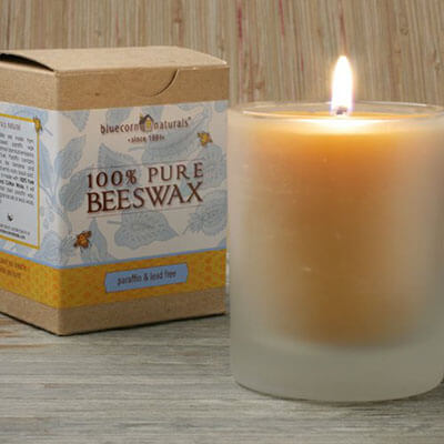 Bluecorn Naturals Raw Beeswax 8oz Glass Candle