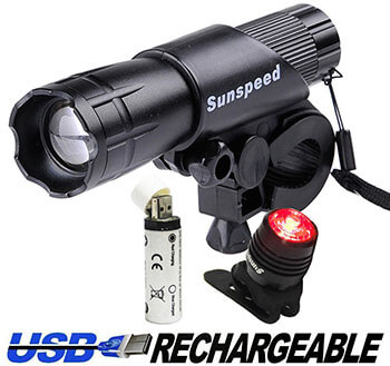 Sunspeed 300Lm KG004 USB Rechargeable Bike Lights