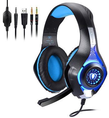 Megadream Professional 3.5mm Gaming Bass LED Stereo over Ear Headphone