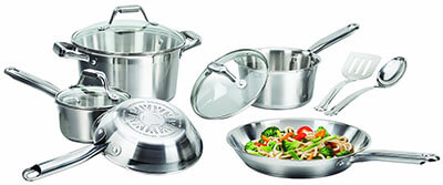 T-fal C811SA Silver Stainless Steel Pots and Pans Set