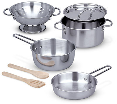 Melissa & Doug Stainless Steel Pots and Pans 8-Piece Pretend Play Kitchen Set