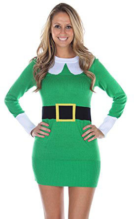 Tipsy Elves Green Elf Sweater Dress