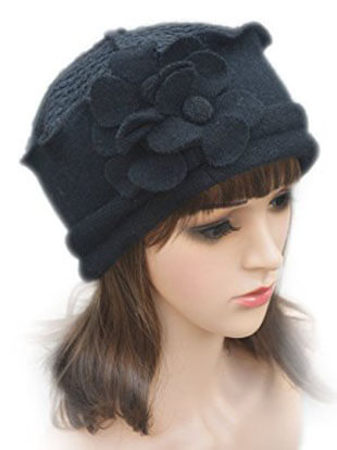 Flower Trimmed Wool Beanie A125 Cap Dress Crochet for Women