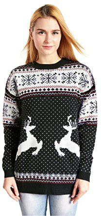 V28 Christmas Reindeer Snowflakes Christmas Sweaters for Women