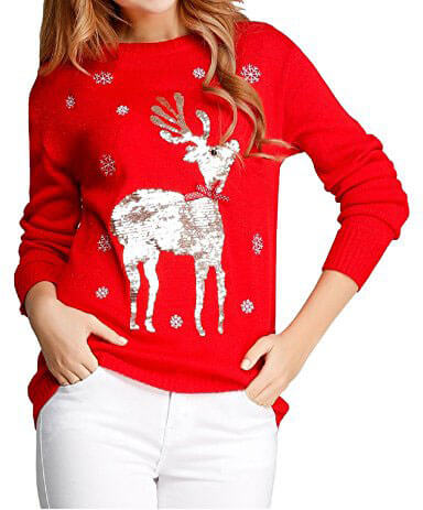 V28 Ugly Christmas Sweater Deer 3D Knit Jumper