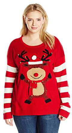 Blizzard Bay Plus-Size Happy Rudolph Women's Sweater
