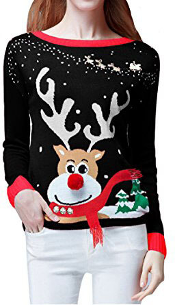 V28 Ladies Girls Cute Reindeer 3D Nose Sweater