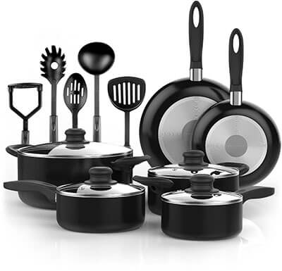 Vremi 15-Piece Nonstick Cookware Set