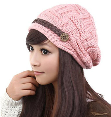 Hermei Women's Knitted Crochet Cap Beret Hat