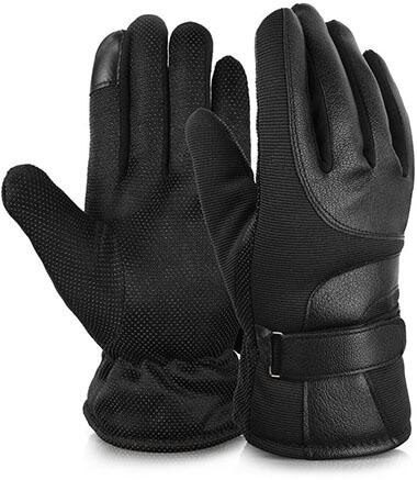 Vbiger Outdoor Leather Winter Gloves