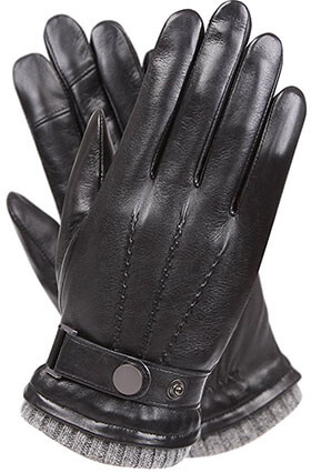 Warmen Men's Sheepskin Warm Leather Gloves