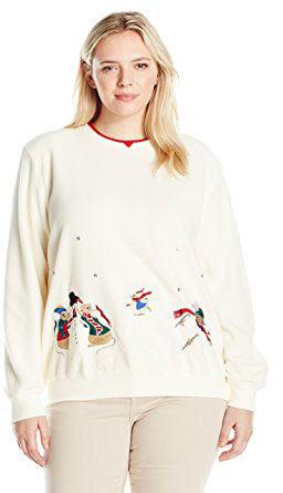 Alfred Dunner Classic Anti Pill Holiday Mice Christmas Sweater