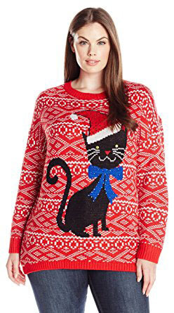 Isabella's Closet Whimsical Cat Women's Plus Size Ugly Christmas Sweater