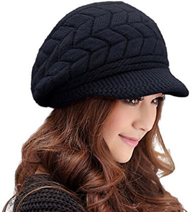 Women Fashion Hats Crochet Wool Knit Snow Cap with Visor
