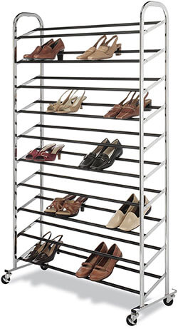 Whitmor Chrome Rolling Best Shoe Rack