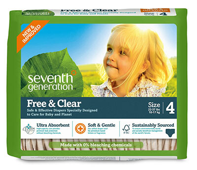 Seventh Generation Size 4 Original Unprinted Baby Diapers for Sensitive Skin