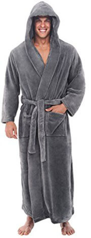 Del Rossa Men's Hooded Fleece Bathrobe
