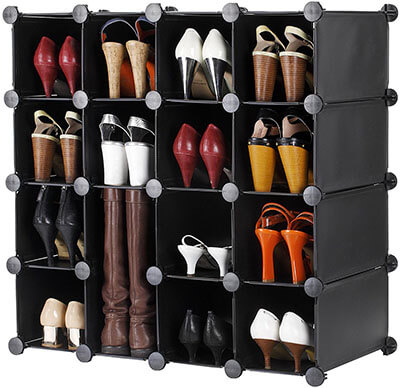 VonHaus Black 16x Interlocking Shoe Storage Cabinet