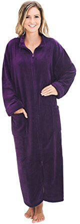 Del Rossa Women's Fleece Robe with Front Zip