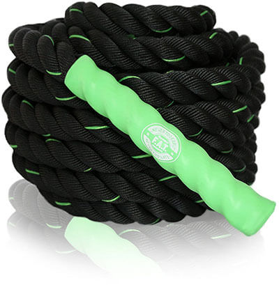 F.A.T Products 40 feet Green Battle Rope Cardio Exercise Training