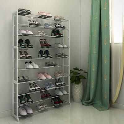 Homdox White 10 Tier Shoe Storage Solutions
