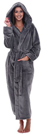 Del Rossa Women's Fleece Robe, hooded