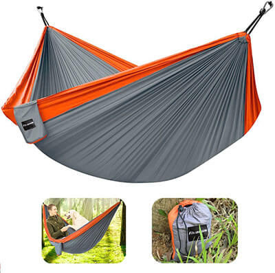 Fivanus Parachute Camping Hammock with Hanging Rope and Carabiners