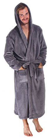 .Men's Bathrobe Simplicity - Hooded Kimono Robe