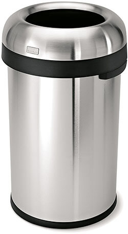 Simplehuman Bullet Open Commercial Grade Stainless Steel Trash Can