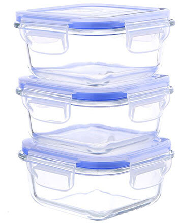 Kinetic Square 10-Ounce Glass Storage Containers 55094