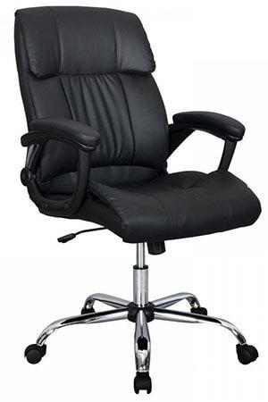BESTOFFICE Black PU Leather Ergonomic