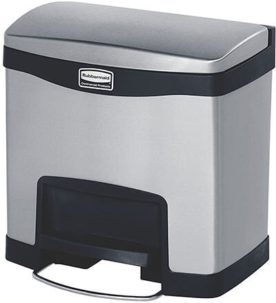 Rubbermaid Commercial Slim Jim Step-On Stainless Steel Trash Can