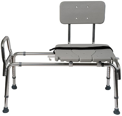 Duro-Med Transfer Bench Shower Chair, Adjustable Leg, Cut-out Seat