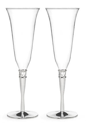 Hortense B. Hewitt Champagne Toasting Flutes, Hearts Border