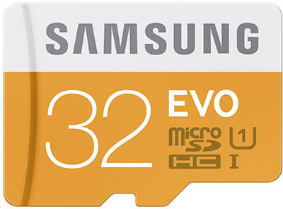 Samsung EVO Micro SDHC Card, Adapter, 32GB, Class 10