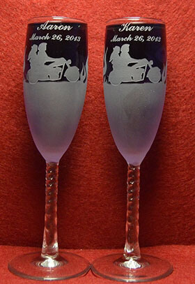 Aaron's Etching Toasting Champagne Wedding Flutes Glasses