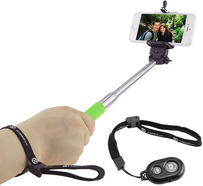 Camkix Green Selfie Stick with Bluetooth Remote