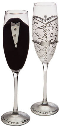 Gifted Living Champagne Toasting Flute Glasses, Hand printed