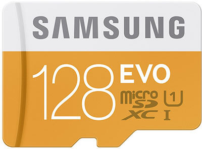 Samsung 128GB up to 48MB/s EVO Class 10 Micro SDXC Card with Adapter