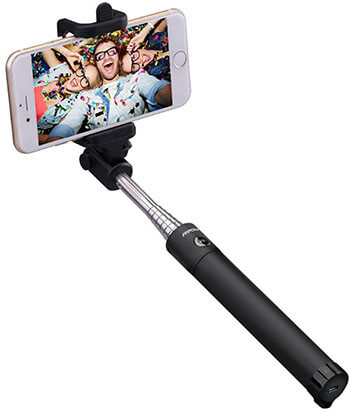 Mpow iSnap Selfie Stick X-Black Bluetooth Selfie Stick