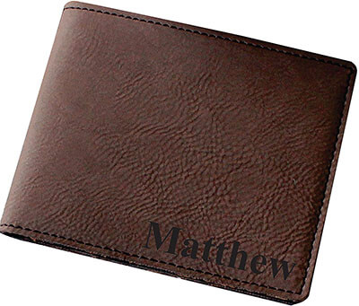 Customized Brown Leather Wallets for Men by My Personal Memories