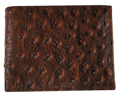 Genuine Cow Ostrich Skin Leather Bifold Credit Card Wallet