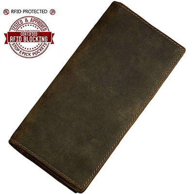 Itslife Men Vintage-Look Long Leather Bifold Credit Card Wallet