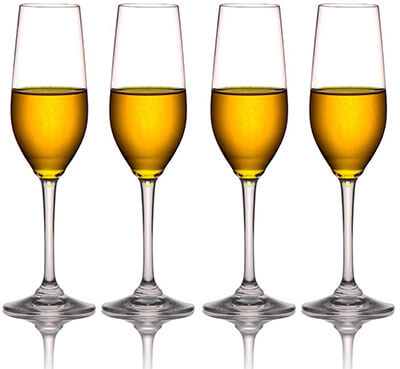 MICHLEY Tritan Plastic Unbreakable Champagne Flutes Glasses
